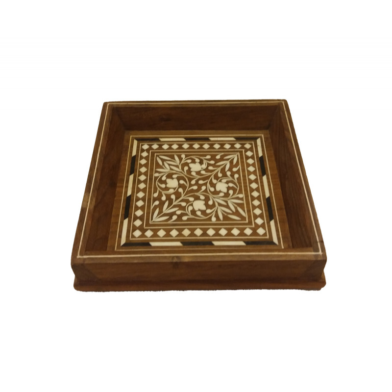 Sheesham Wood Handcrafted Square Shaped Tray with Acrylic Inlay Work