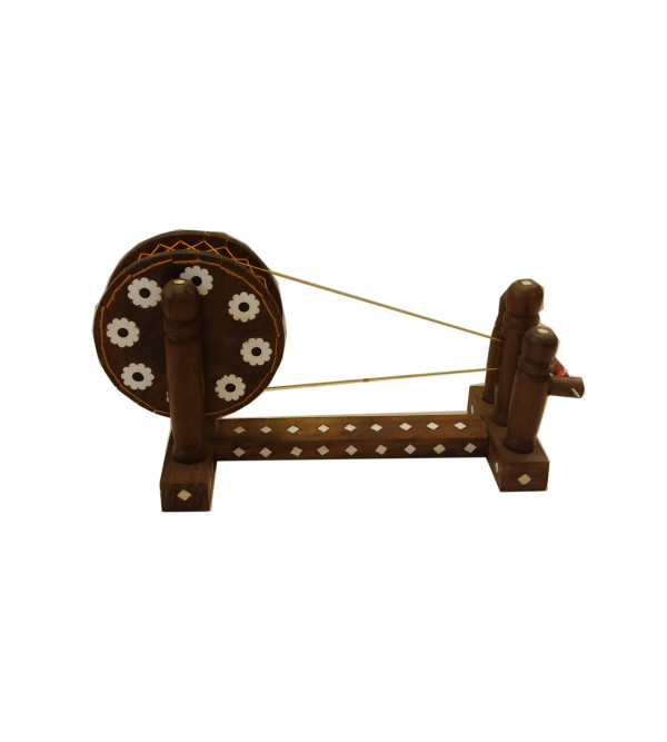 Sheesham Wood Handcrafted Spinning Wheel ( Charkha ) with Acrylic Inlay Work