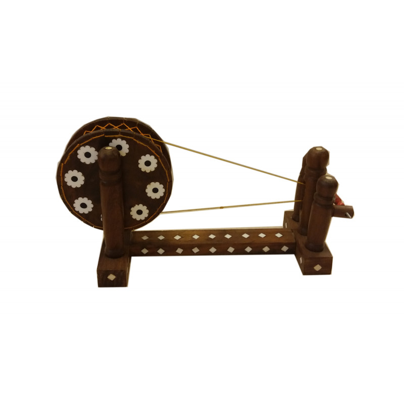 CHARKHA PLASTIC INLAID CH2F SHEESHAM WOOD wheel 3inches.    Length 9inches