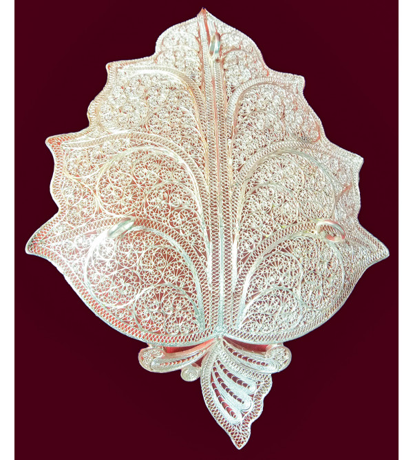 Filigree Silver Handcrafted Leaf Plate