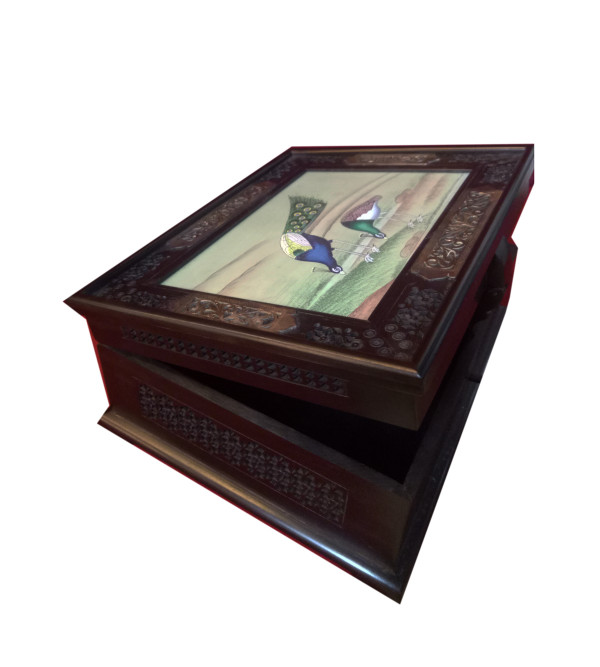 ABONY WOOD BOX WITH 85 SILVER JALI