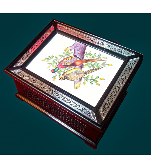 ABONY WOOD BOX WITH 85 SILVER JALI