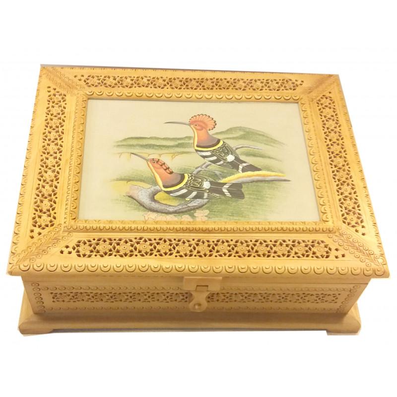 Kadamba Wood Handcrafted Box with Jaali Work and Painting