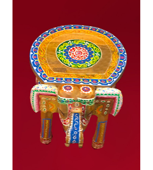 Elephant Stool Handcrafted In Mango Wood Size 12X15X11 Inches