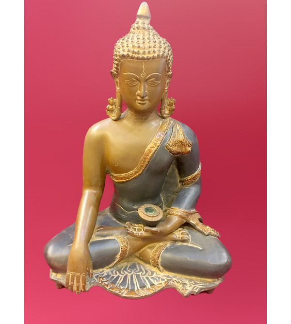 Buddha Sitting Handcrafted In Brass Size 16 Inches