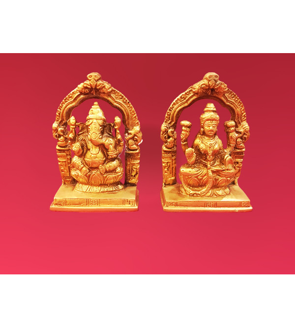 Ganesh And Laxmi Handcrafted In Brass Size 4 Inches