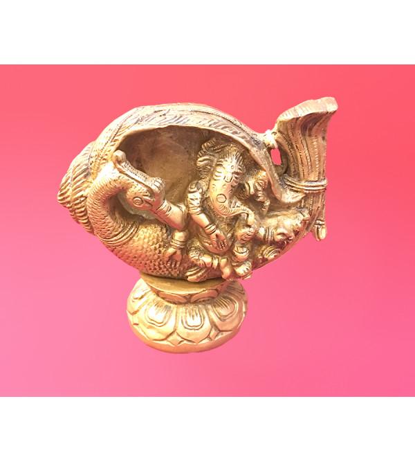 Brass Ganesh sitting on Shankh on Peacock  5.5*6