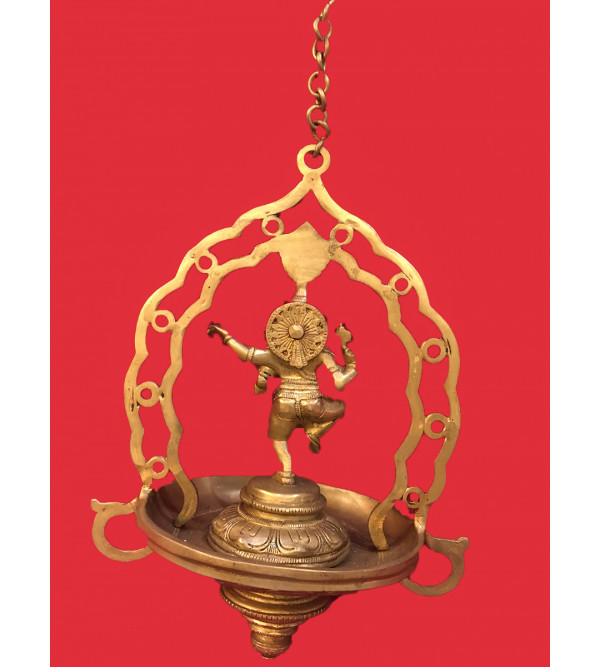 Ganesha Hanging Lamp Handcrafted In Brass Size 13 Inches
